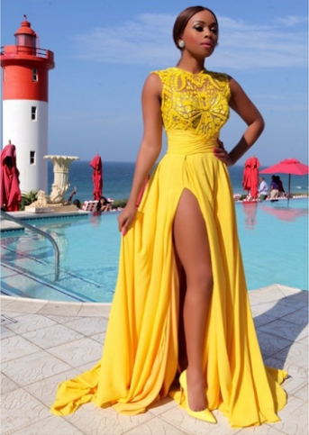 Black Girl Prom Dresses Formal Dress Yellow Chiffon Prom Dresses