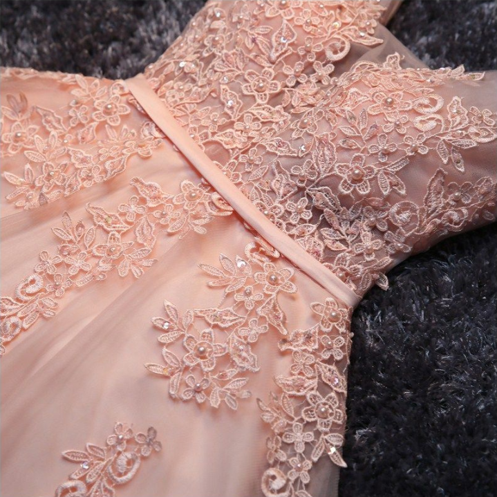Blush Pink Short Homecoming Dresses, Princess Lace Appliqued Tulle ...