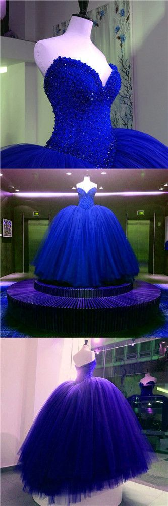 Royal Blue Prom Dresses Prom Gown Tulle Long Prom Dress