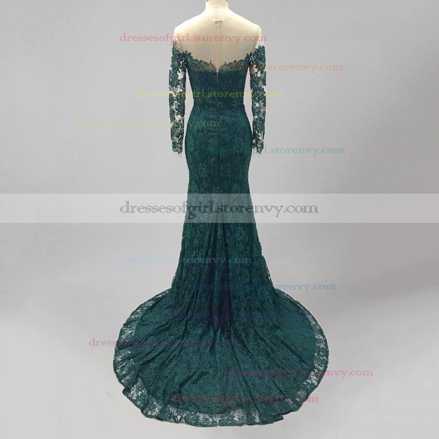Trumpet/Mermaid Dark Green Prom Dresses, Scoop Neck Lace Formal ...