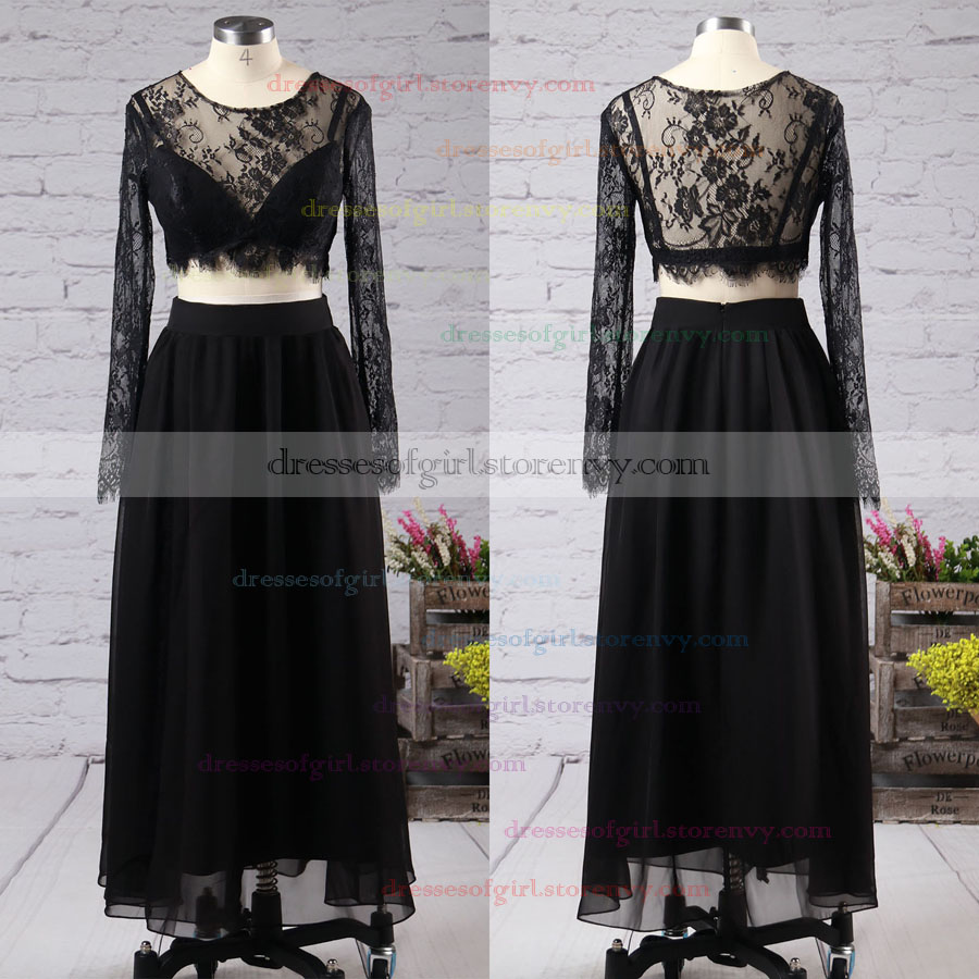 Two Piece Black Prom Dresses, A-line Scoop Neck Long Sleeve Party ...