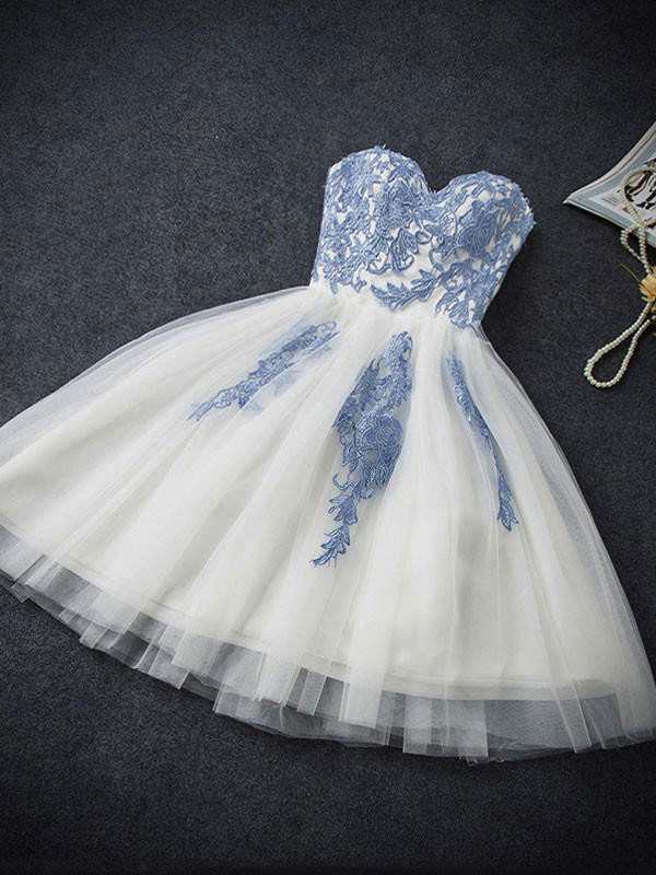 Strapless Sweetheart Neck Homecoming Dresses,Ivory Hoco Dresses ...