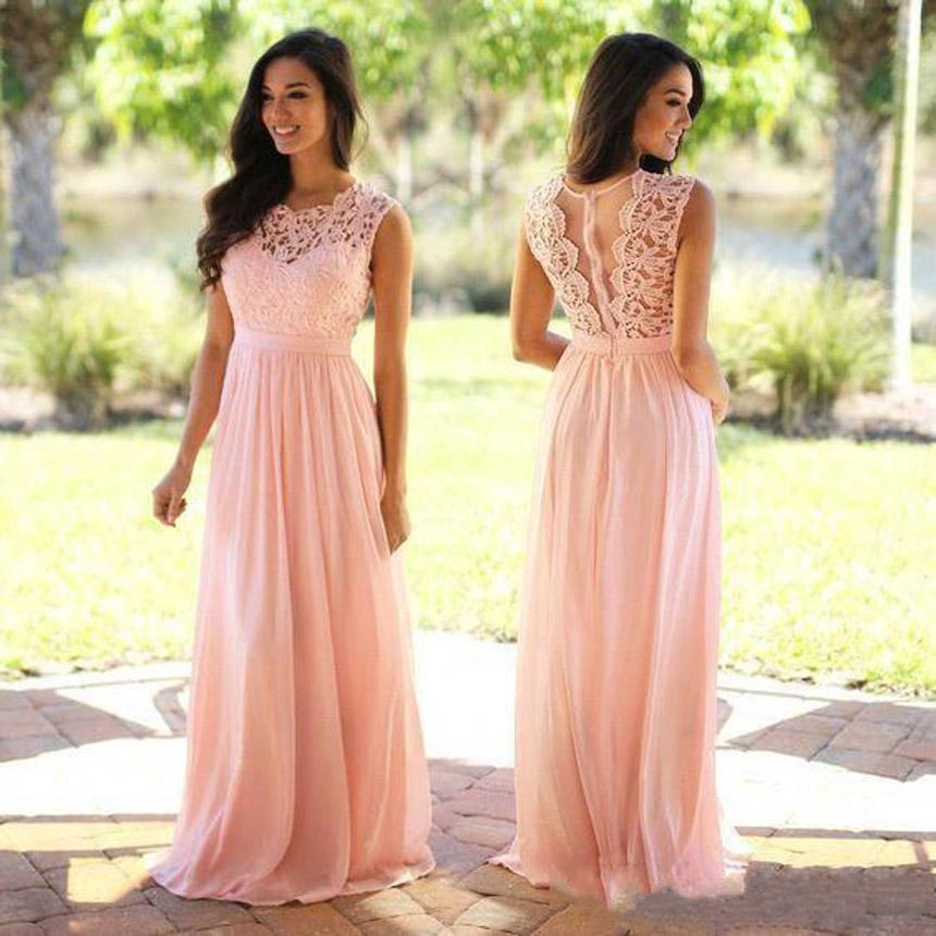 Long Prom Dresses, Affordable A-line Pink Evening Dresses, Chiffon ...