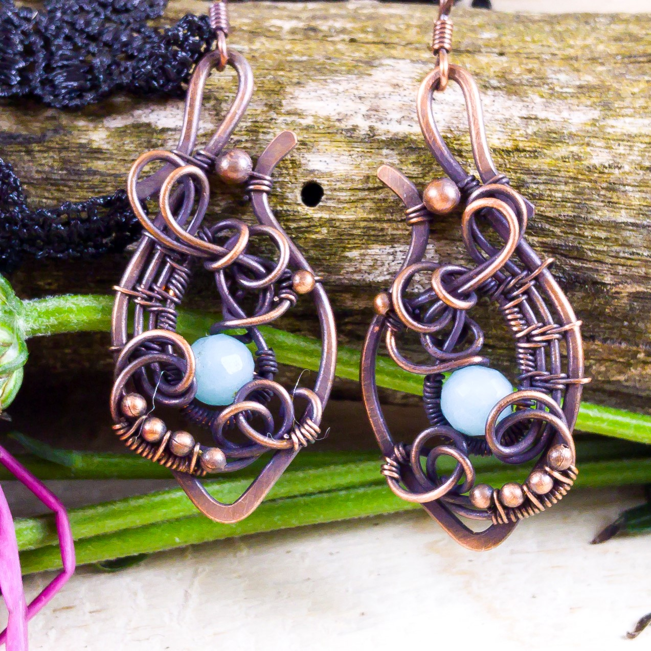 Trendy earrings with amazonite and oxidized copper wire; statement ...