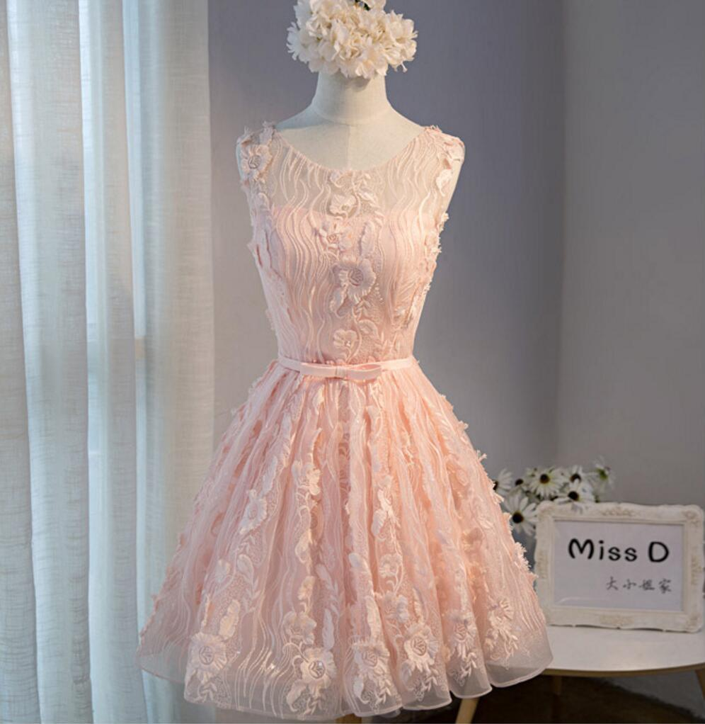 Peach Lace Short Peach Cute Homecoming Prom Dresses, Affordable ...