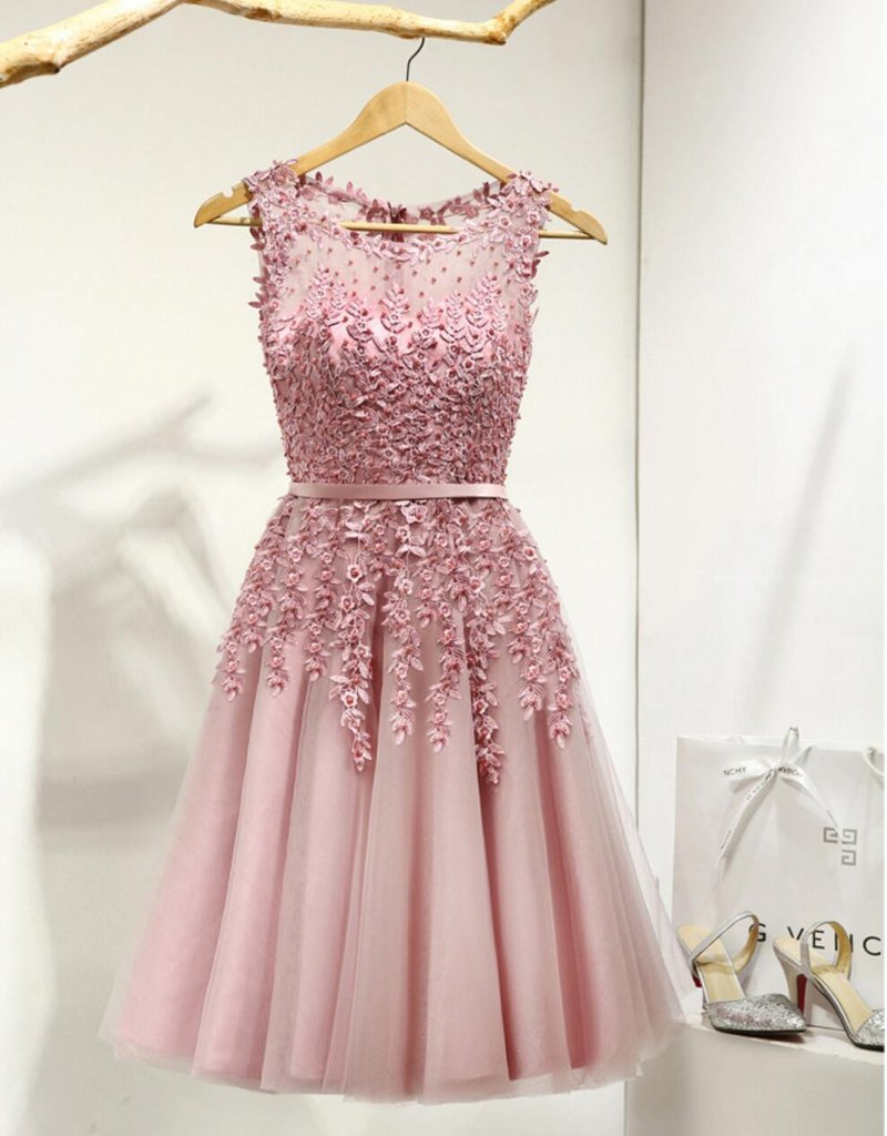 Dusty Pink Lace Beaded See Through Homecoming Prom Dresses ...