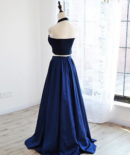 Simple navy blue two pieces A-line long prom dress, homecoming dress ...