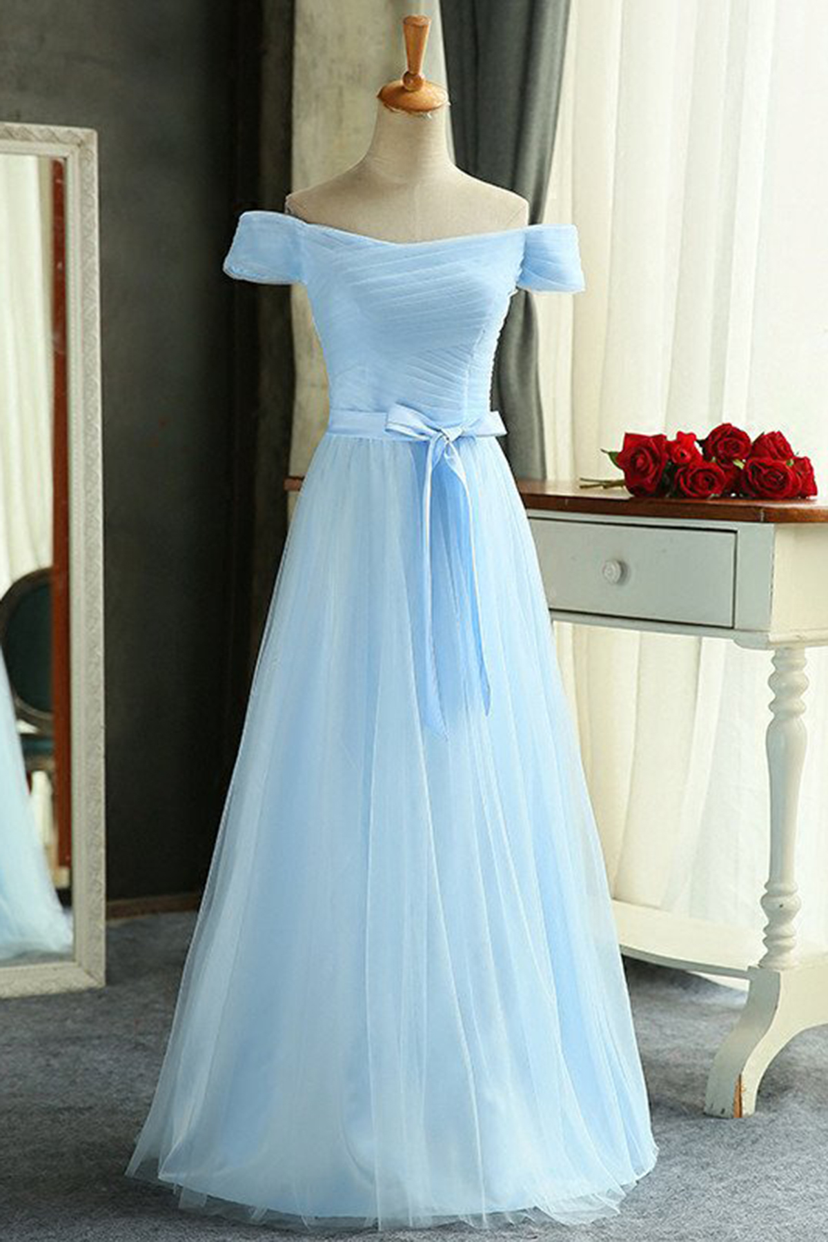 Ice blue chiffon off shoulder long prom dress, bridesmaid dress ...