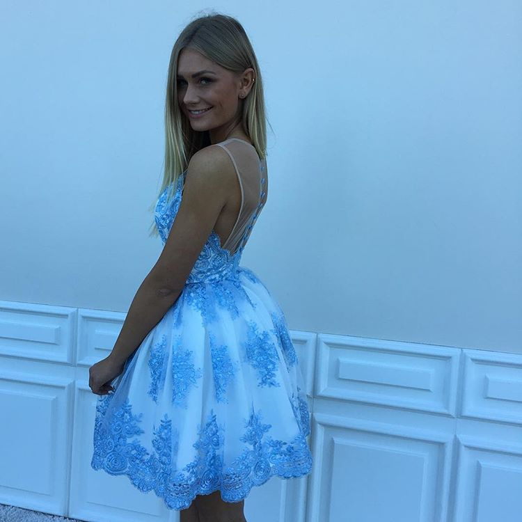 Sky Blue Lace Homecoming Dresses Sheer A-line Cocktail Dresses ...
