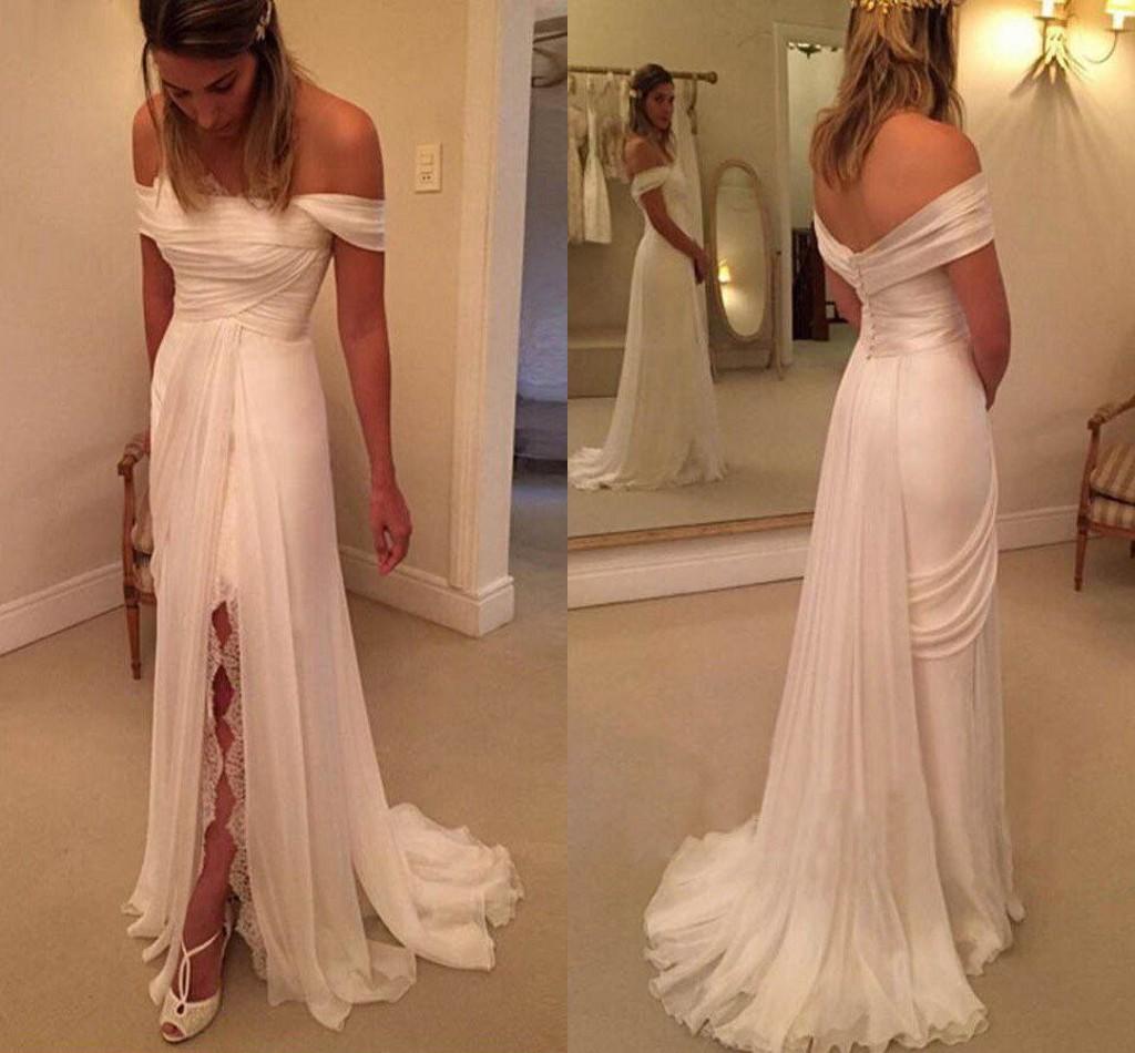 Classical Summer Beach Wedding Dresses Off-the-Shoulder Side Slit ...