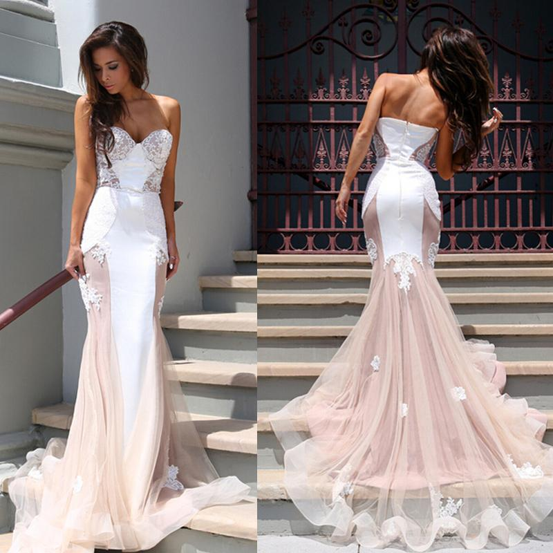 F283 Strapless Mermaid Long Pink Wedding Dress with White Lace ...