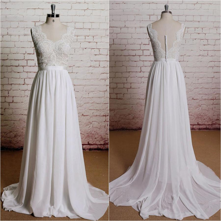Vintage Long Chiffon Wedding Dresses,Lace White A-line Beach Wedding ...