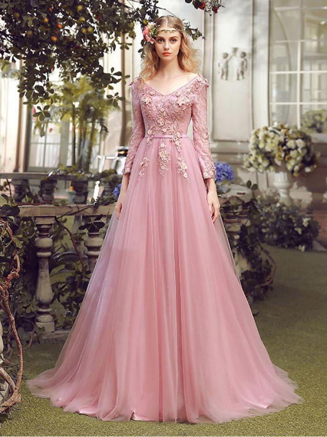 prom dresses 2017,Pink A-line V-neck Floor-length Chiffon Prom ...