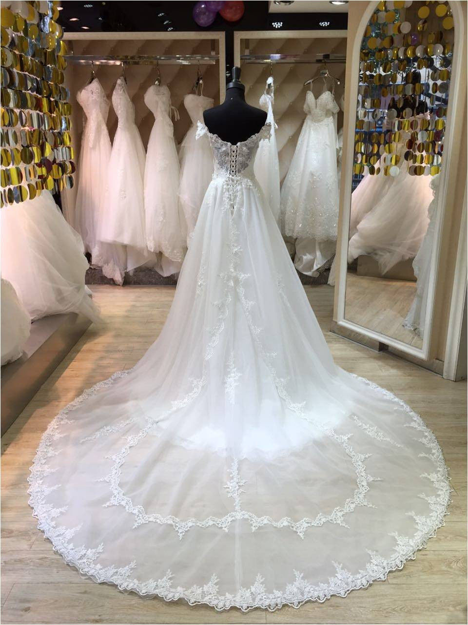 A Line Lace Wedding Dress with Overskirt,White Lace Bridal Dresses ...