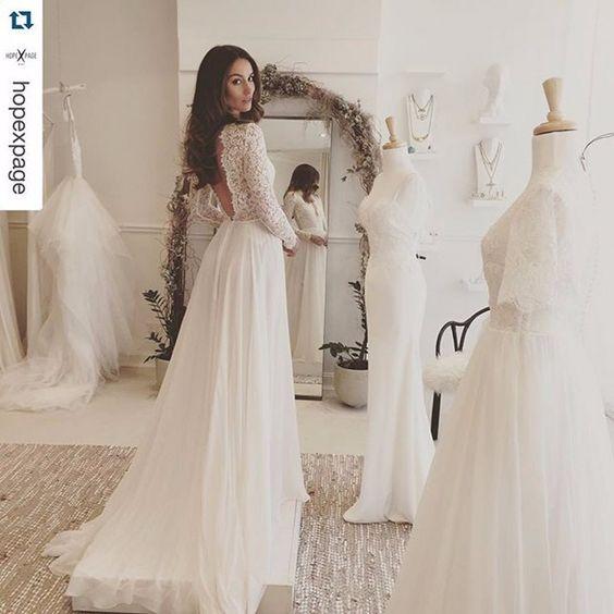 Elegant White Long Sleeve Lace Beach Wedding Dress,Chiffon Long ...
