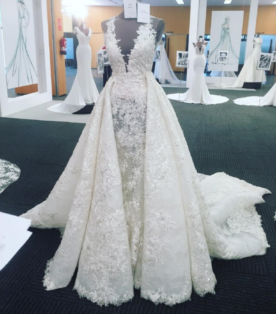 A-line Luxury Full Lace V Neck Long Train Wedding Dress,Detachable ...
