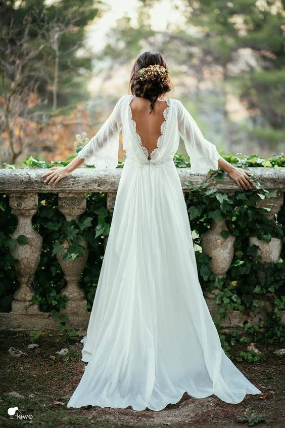 Long Sleeve Wedding Dresses with Color