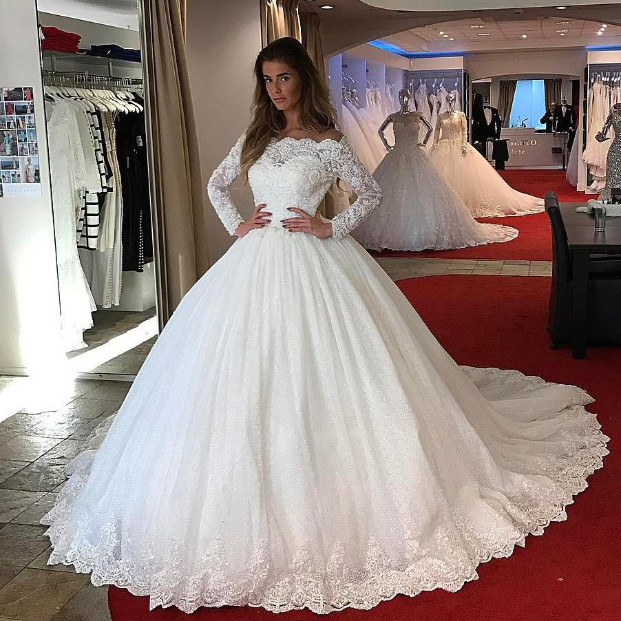 Lace Long Sleeves Tulle Ball Gowns Wedding Dresses 2017 · Charming ...