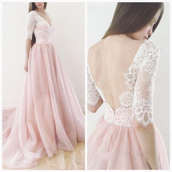 Blush pink prom dress, V-neck prom dress,lace long sleeves prom ...