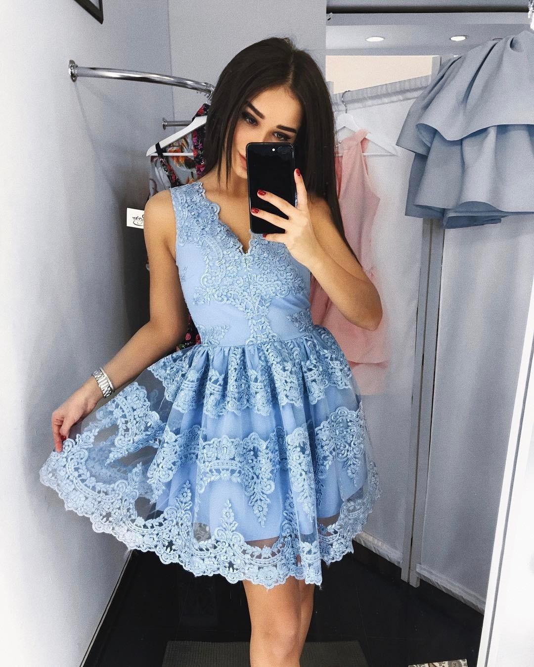 Cute blue v neck lace short prom dress, blue homecoming dress ...