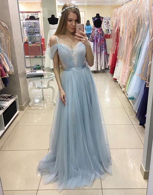 Light blue A line tulle long prom dress, tulle evening dresses ...