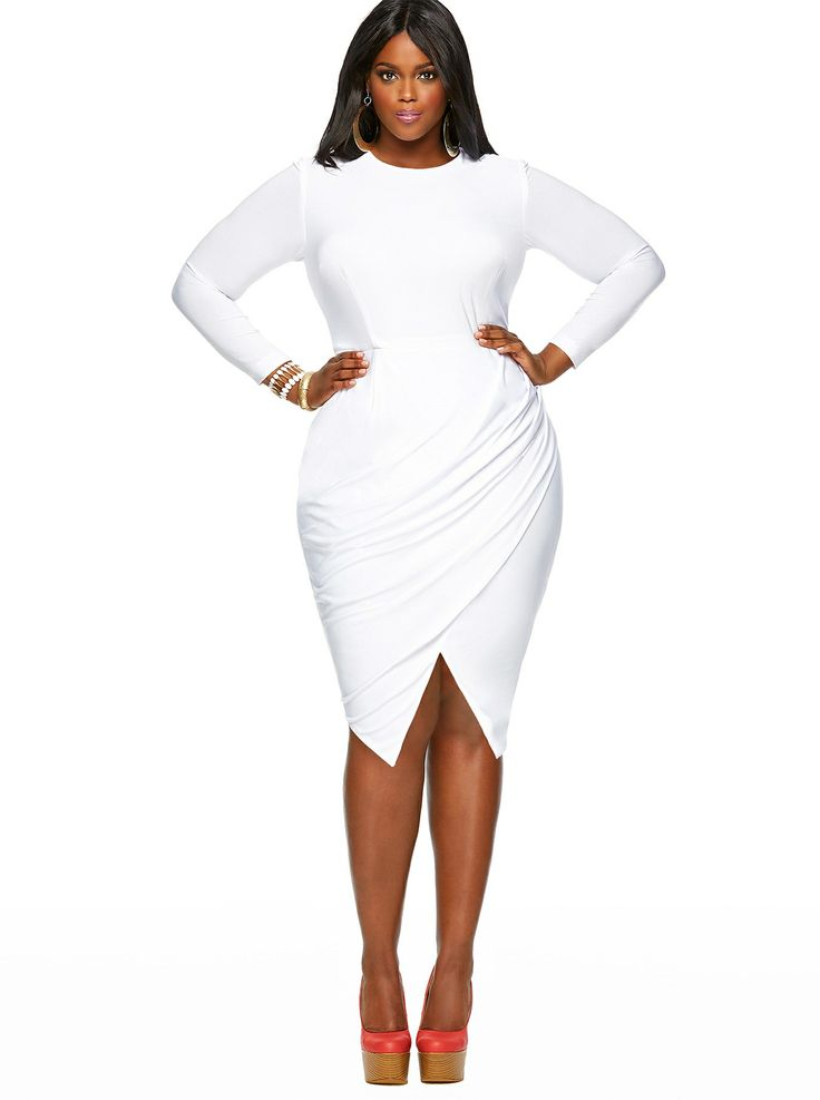 Pure White Elegant Asymmetric Ruffles Plus Size Dress Jadore