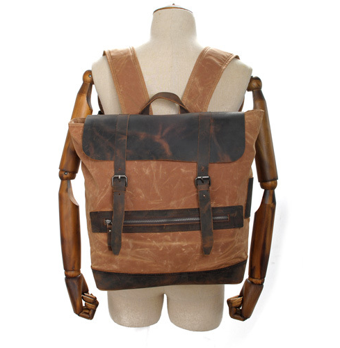 Genuine Cow Leather Canvas Bag Backpack Briefcase Leather ...