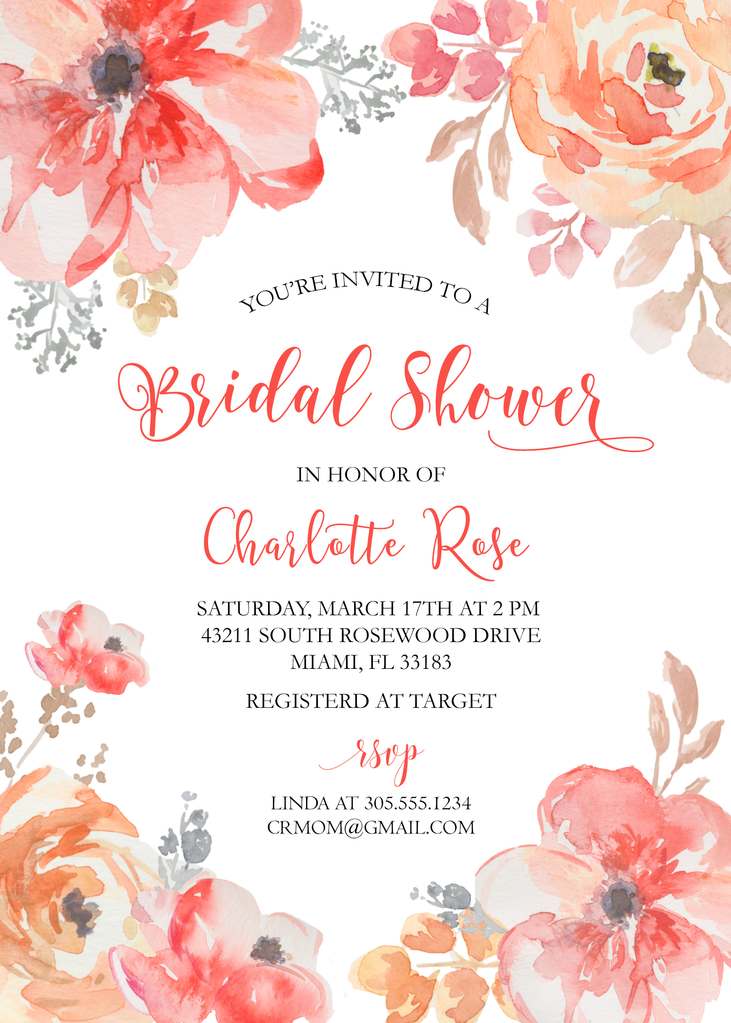 watercolor roses bridal shower invitation red floral blush