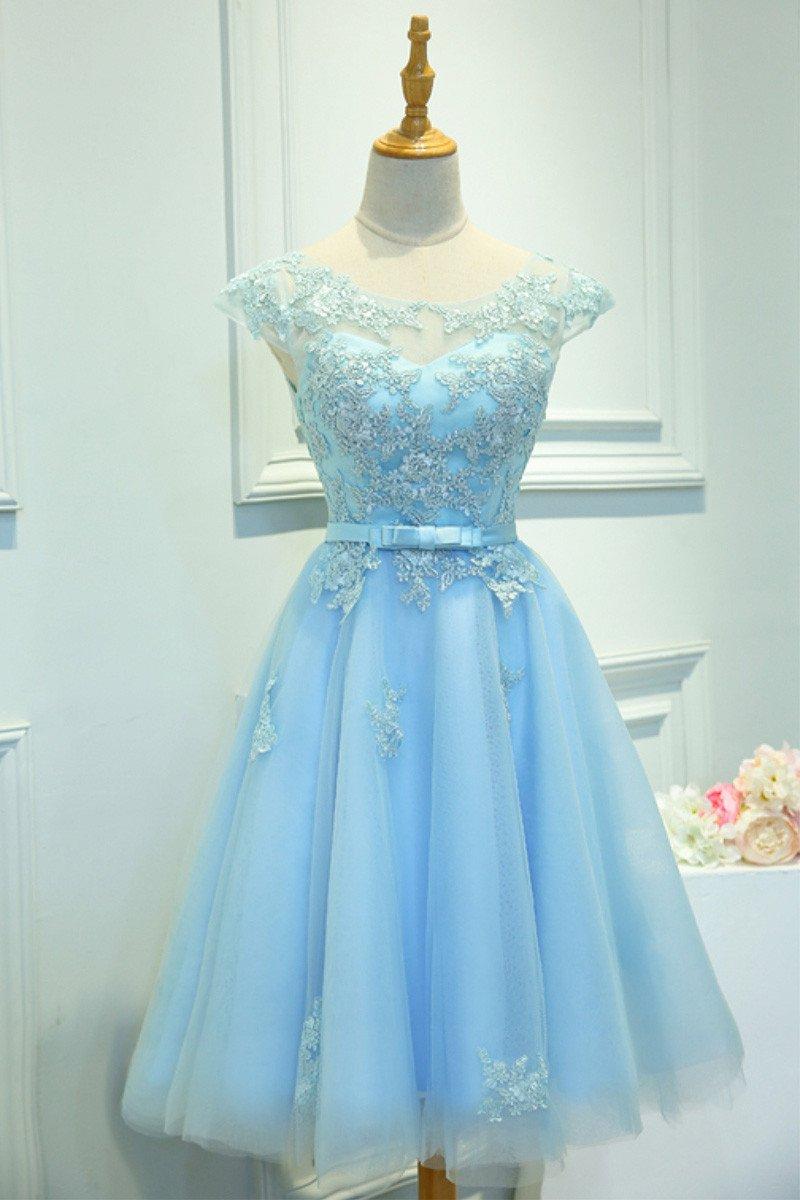 Sky Blue Homecoming Dress,Short Prom Dress,Back To School Dresses ...
