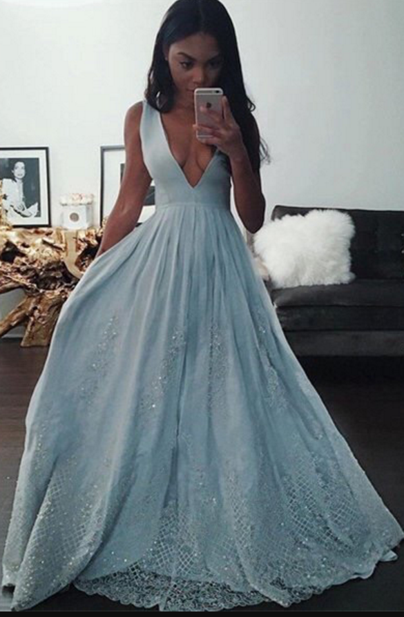 Sexy V-Neck Baby Blue Evening Dress Sequins Lace prom dresses ...