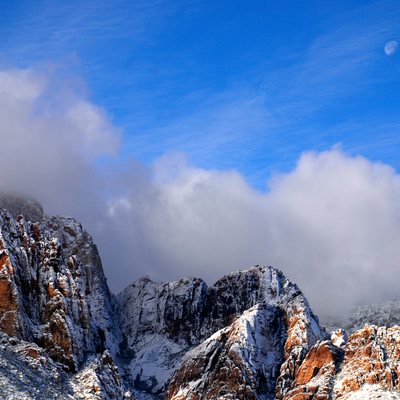 Snow and moon, red rock canyon
