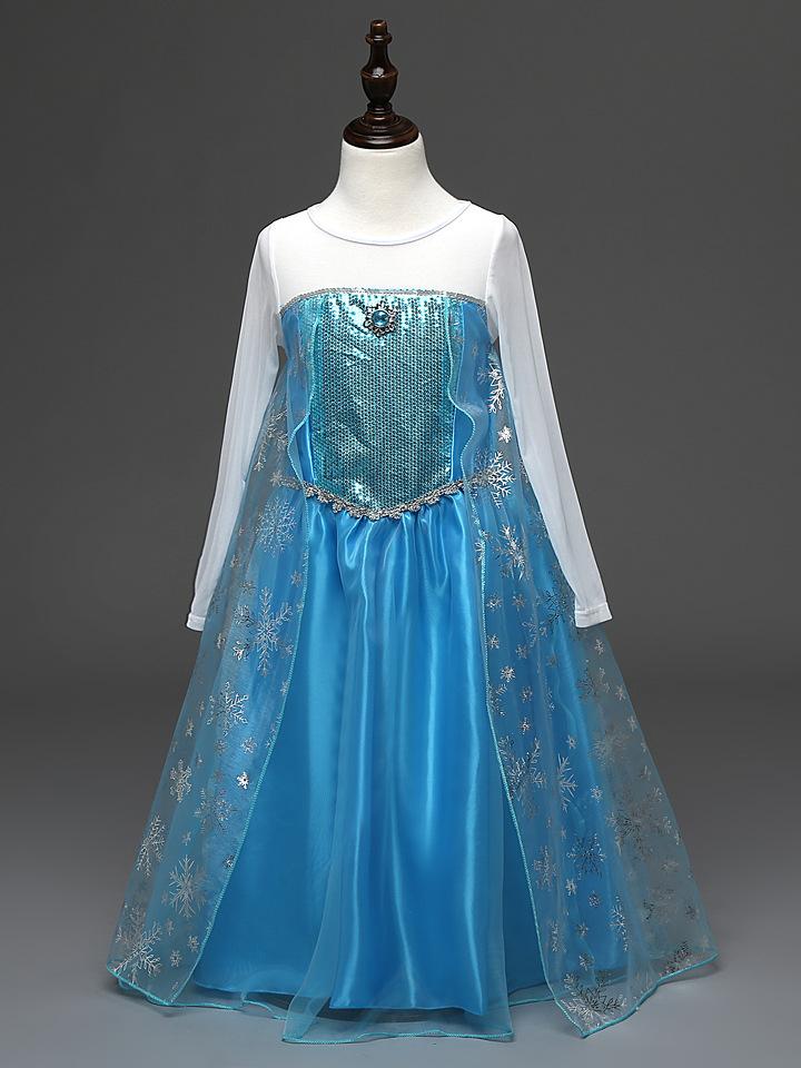 Kids Girls Cartoon Elsa Frozen Dress, Costume Princess Anna White ...