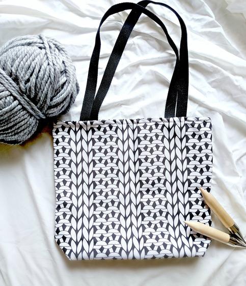 2x2 Knit Rib Graphic Print Tote Bag Knitting Project Bag