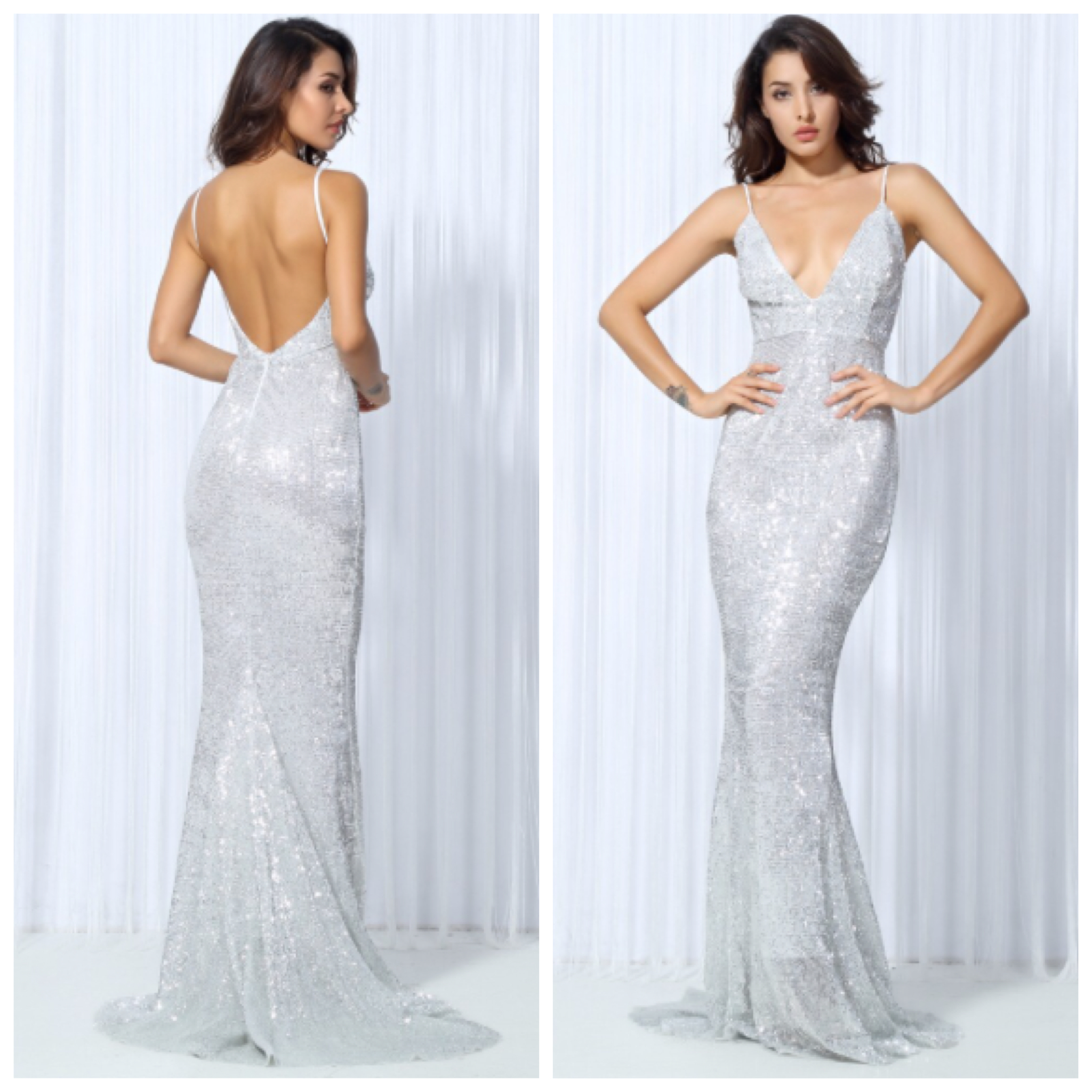 STAR WALK PLUNGE OPEN BACK SEQUIN GOWN (SILVER) · LUXE STYLE ...