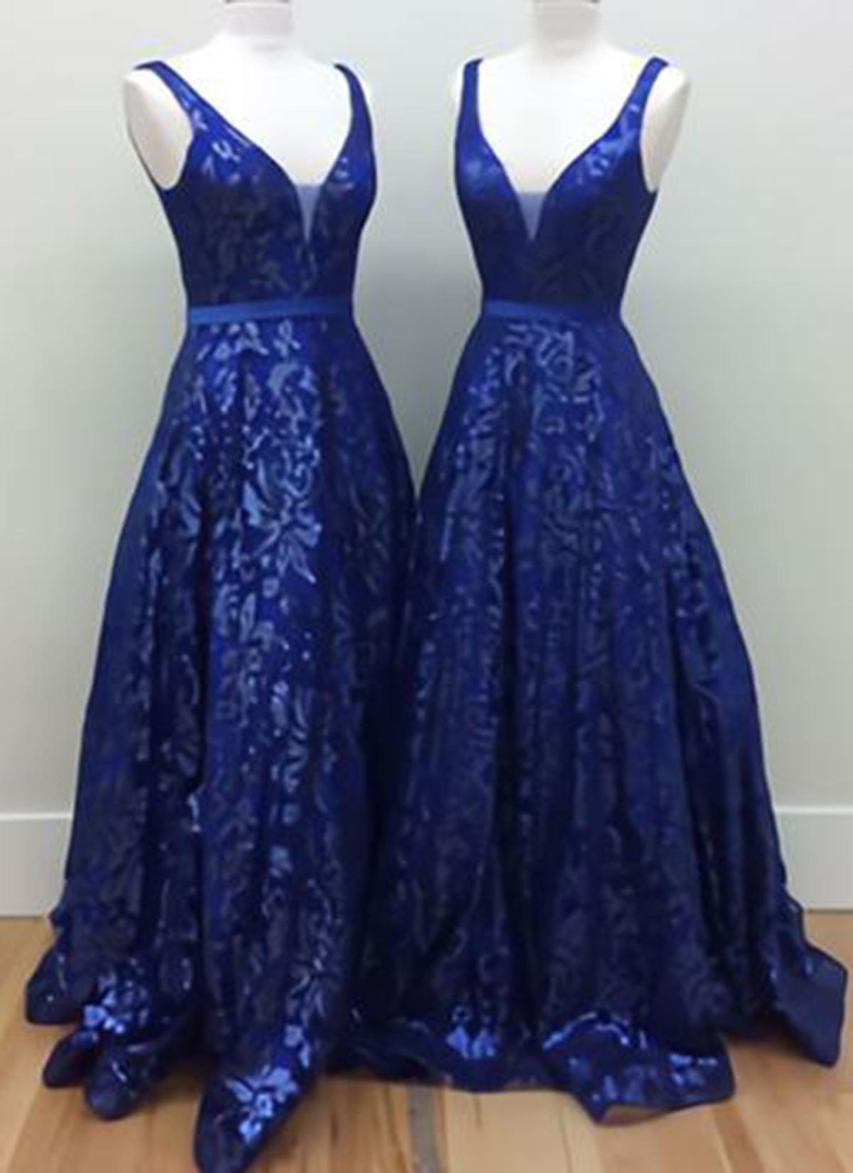 Royal blue lace long V-neck A-line prom dress, long halter evening ...