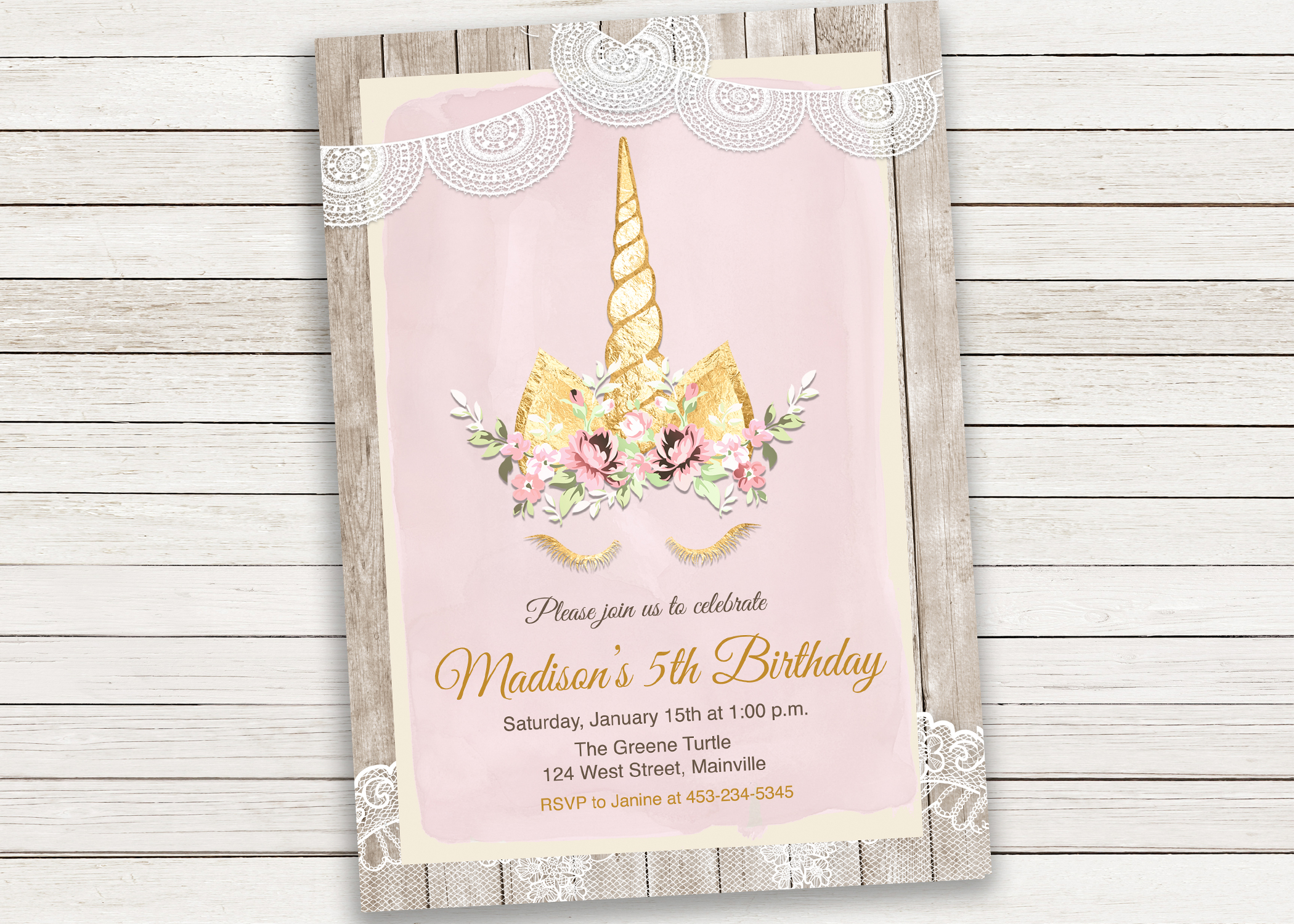 Unicorn Birthday Party Invitation Lace Cake