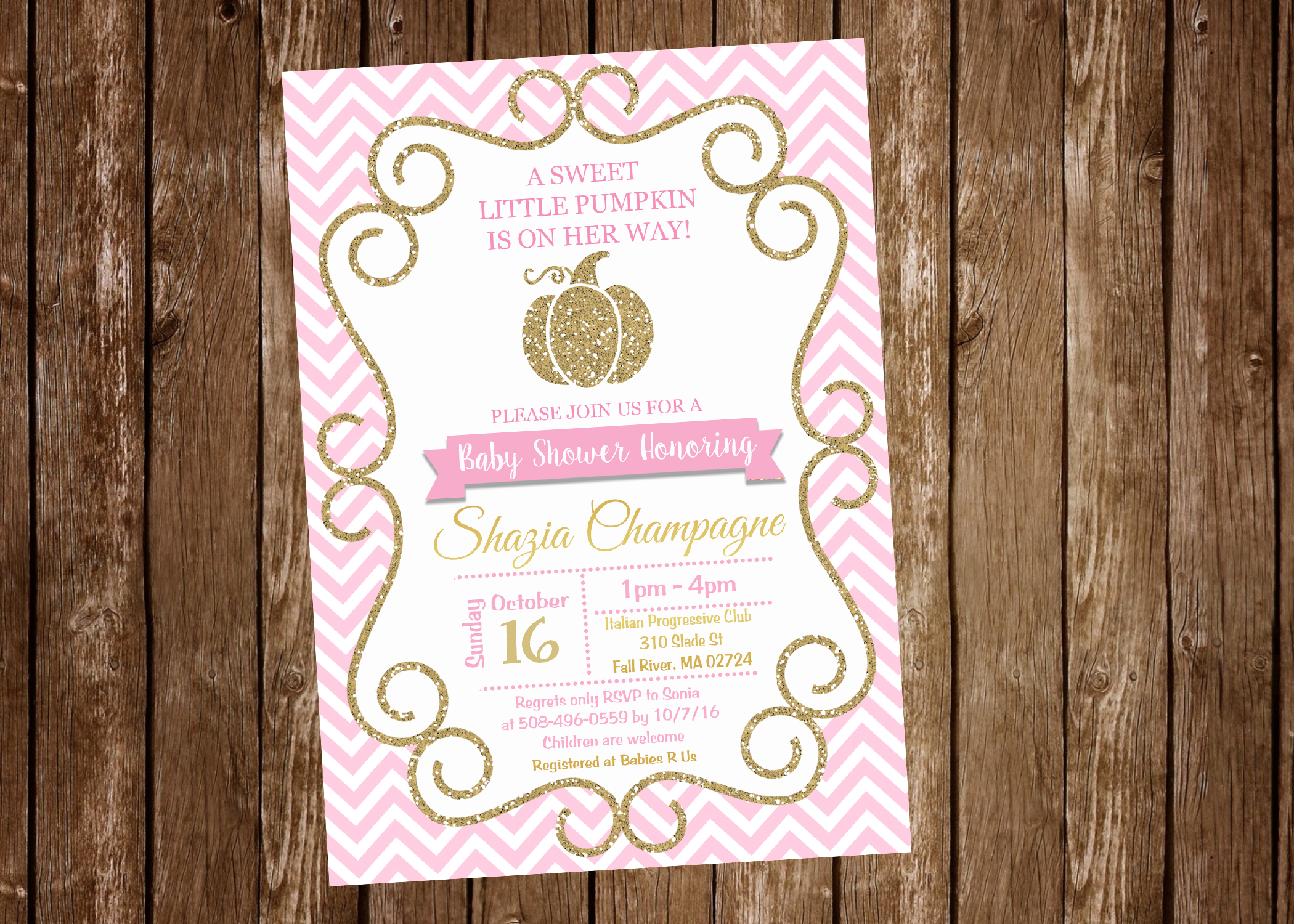 Pumpkin pink gold girl baby shower invitation digital or pumpkin pink gold girl baby shower invitation digital or printed filmwisefo
