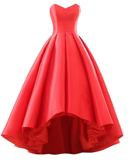 Red Satin Short Front Long Back Prom Dresses, Red Prom Dresses ...