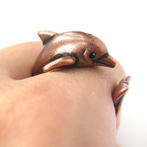 3D Realistic Dolphin Sea Animal Wrap Around Ring in Copper Size 5 - 10 Available
