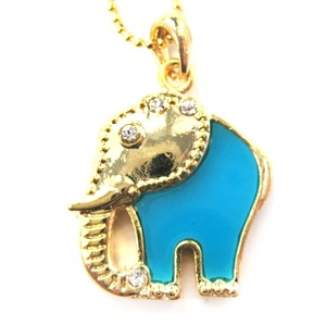 Elephant Shaped Pendant Necklace in Gold and Blue