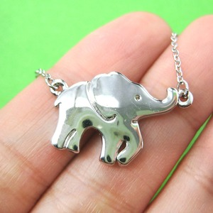 Baby Elephant Charm Animal Jewelry Necklace in Shiny Silver