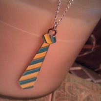 Punk Tie Necklace - Blue and Yellow
