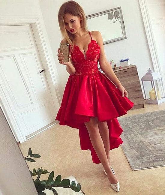 Red V neck high low prom dress, red
