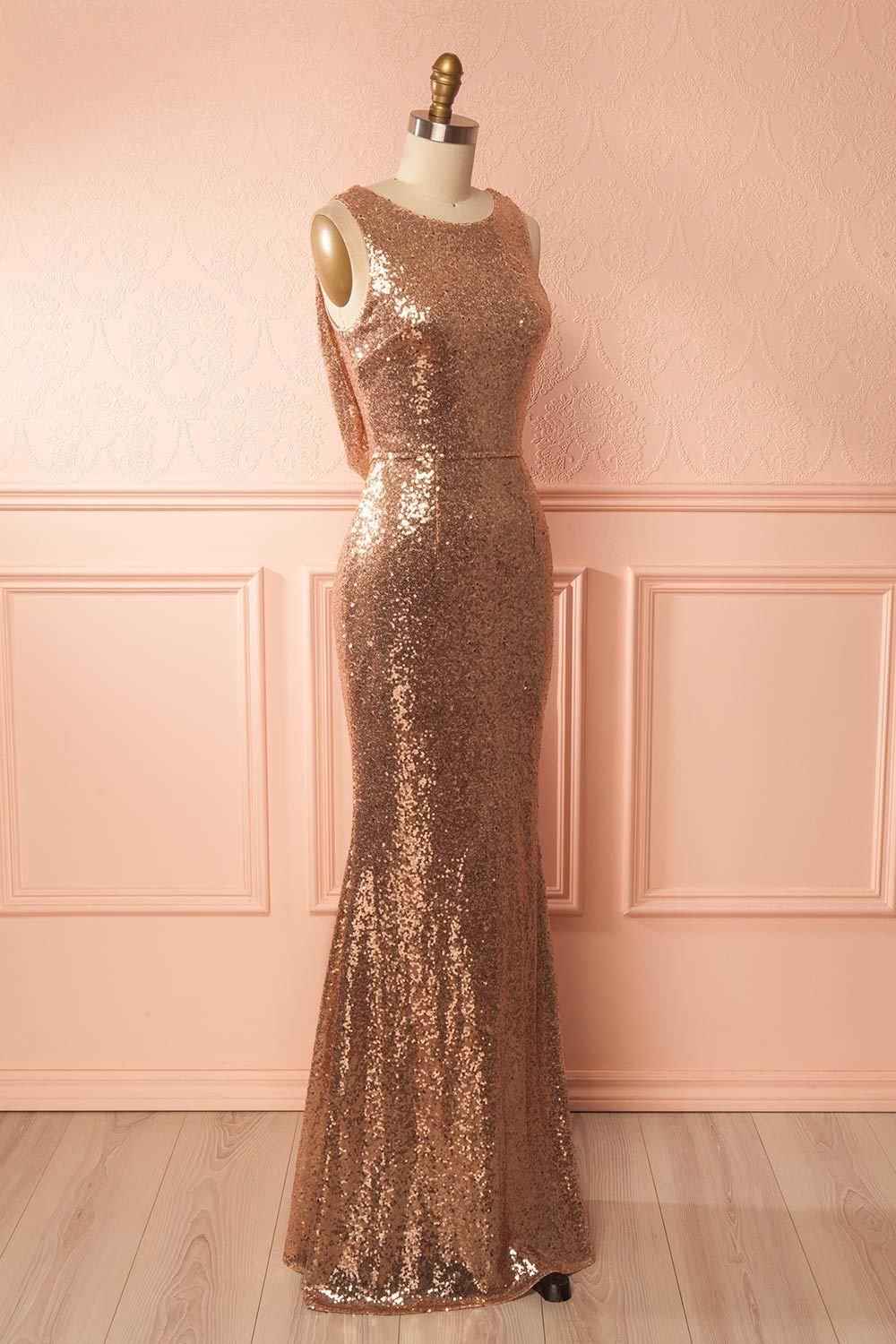 2018 Rose Gold Sequin Sleeveless Mermaid Prom Dress,Formal Gown With ...