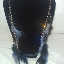 Black Feathered Jeweled Earring