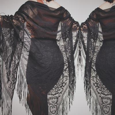 Claimed  blackoutraven - vintage 80s black lace fringed oversize