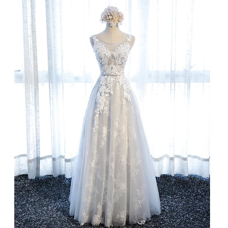 Long Prom Dress Grey Prom Dress Lace Up Back Prom Dress Cheap