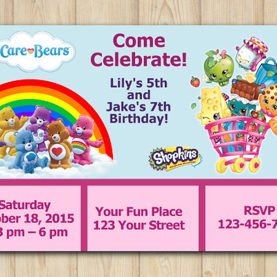 Home DIY Party Printables Online Store Powered by Storenvy – Care Bear Birthday Invitations