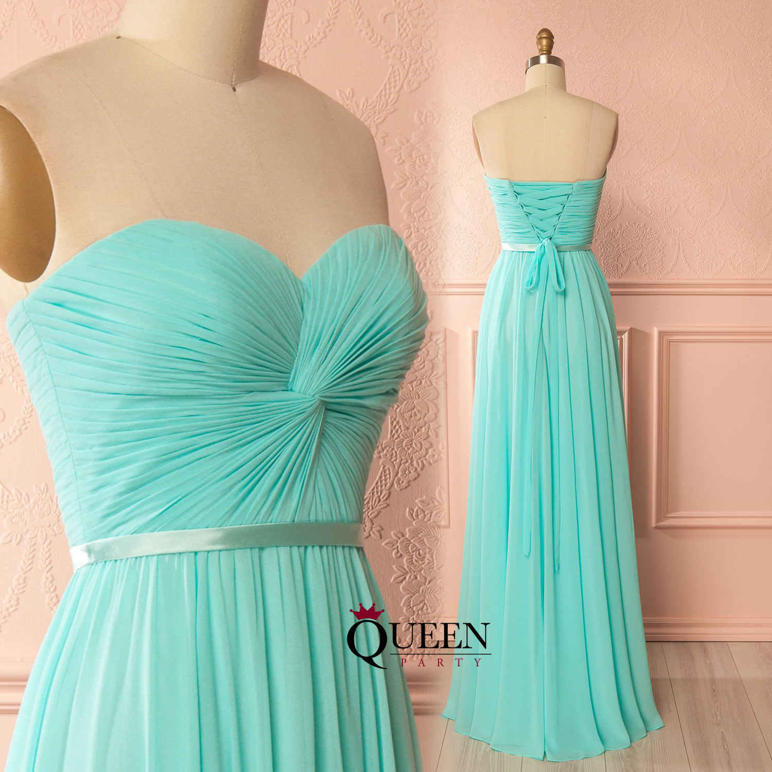 Glamorous Mint Chiffon Strapless Ruched Bodice Sleeveless Long Prom ...