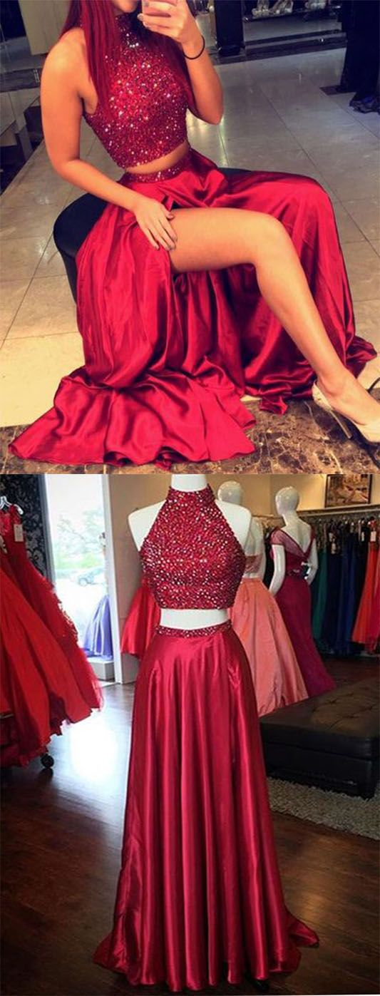 two pieces charming real made christmas dresseslong party dressesprom dresses on sale